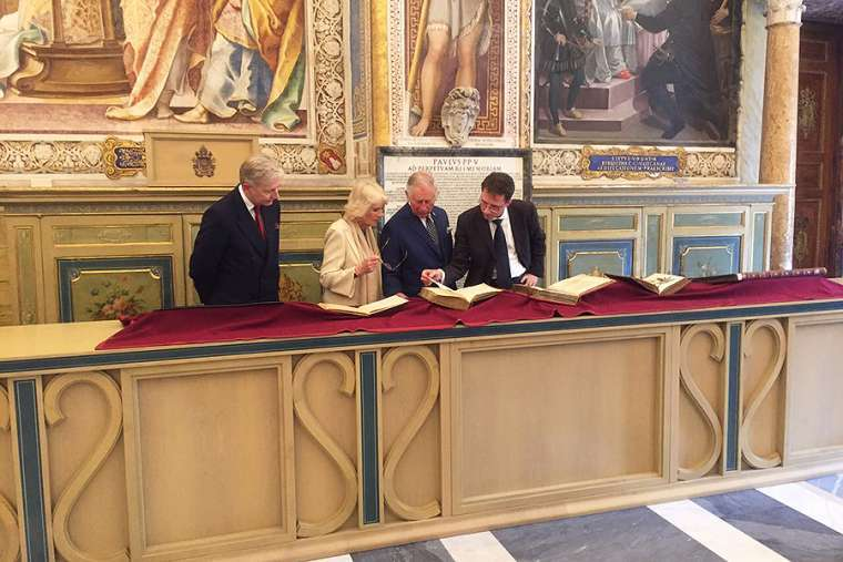 The Prince of Wales and Duchess of Cornwall in the Vatican Library on April 4, 2017.