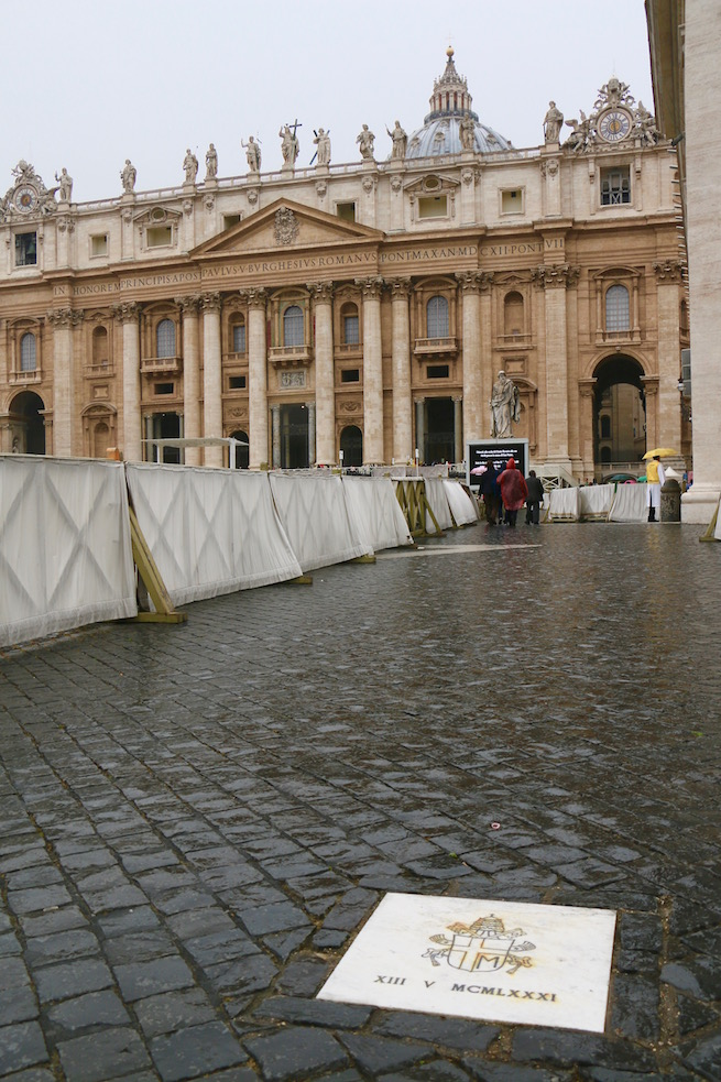 The commemorative stone that marks the spot in St. Peter's Square where the assassination attempt took place.