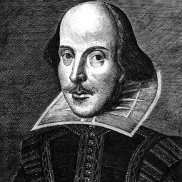 Engraving of William Shakespeare from the First Folio of year 1623
