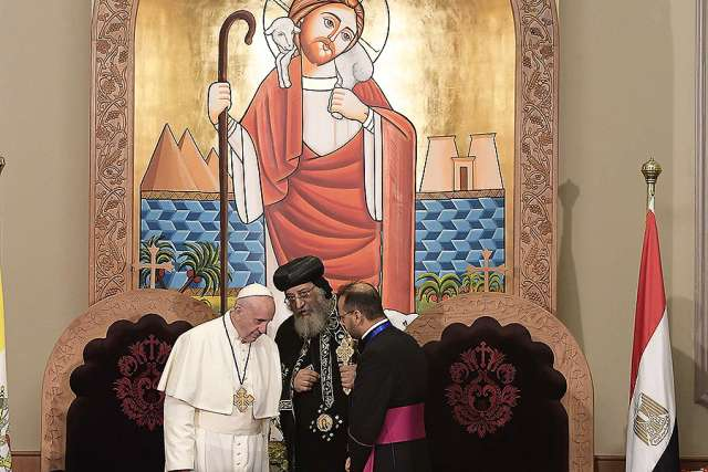 Pope Francis with Pope Tawadros II of Alexandria in Cairo, Egypt, on April 28.