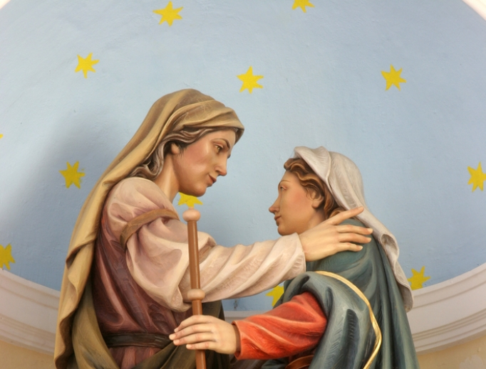 Elizabeth greets Mary in a depiction of the Visitation.