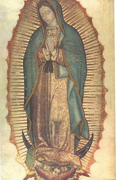 The Virgin of Guadalupe displays the sun, moon, and stars symbolism of the Woman of Revelation 12