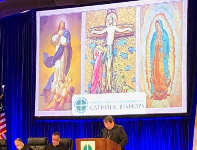 Archbishop Christophe Pierre addresses the U.S. bishops Nov. 12 in Baltimore.
