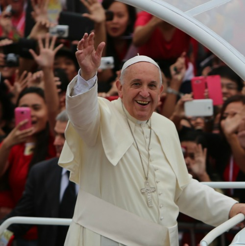 Pope Francis greets youth pilgrims in the Philippines on Jan. 18