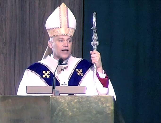 Archbishop Salvatore Cordileone of San Francisco delivers the homily at the Mass for the Walk for Life West Coast on Jan. 27, 2018.