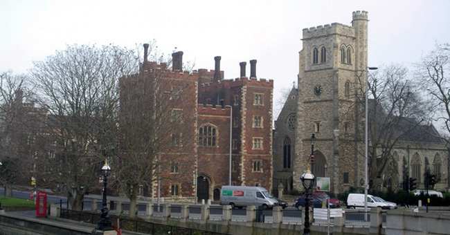 The gatehouse of Lambeth Palace, the London home of the Archbishop of Canterbury.