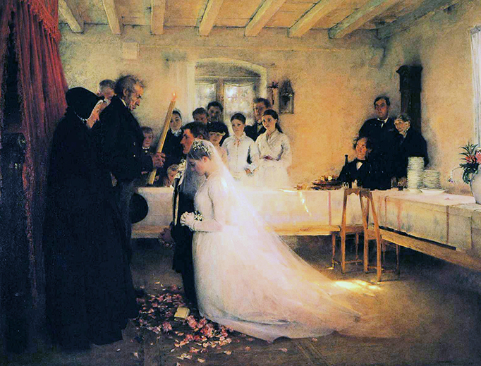 """Pascal Dagnan-Bouveret, """"Blessing of the Young Couple Before Marriage"""" (c. 1880)"""