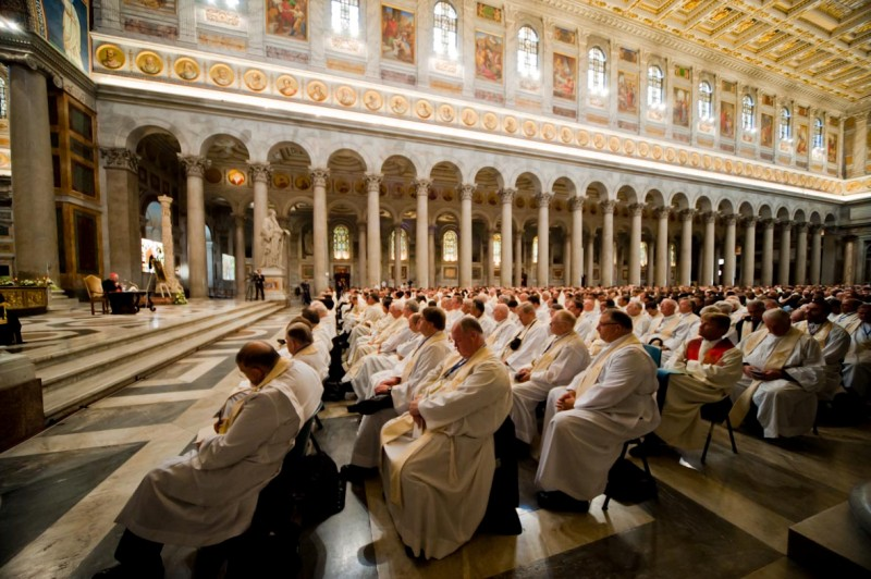 Cardinal Joachim Meisner, archbishop of Cologne, addresses priests Wednesday at the Basilica of St. Paul Outside the Walls.