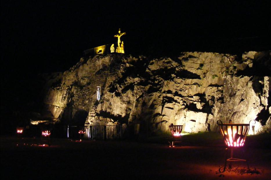 The local grotto on the hill will be the site of Jesus' Crucifixion on Good Friday.
