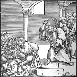 Jesus drives out the money changers in the Temple.