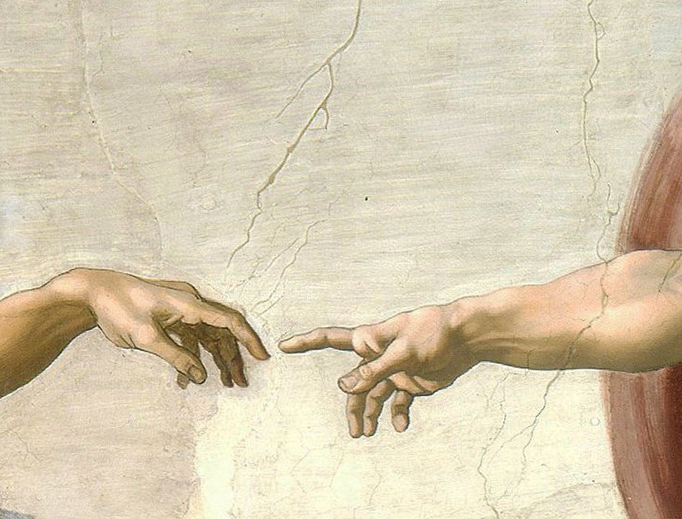 "Michelangelo, ""Creation of Adam"" (detail), Sistine Chapel Ceiling (1508-1512)"