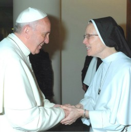 Sister Joseph Andrew Bogdanowicz, vocation director for the Dominican Sisters of Mary, Mother of the Eucharist, with Pope Francis.