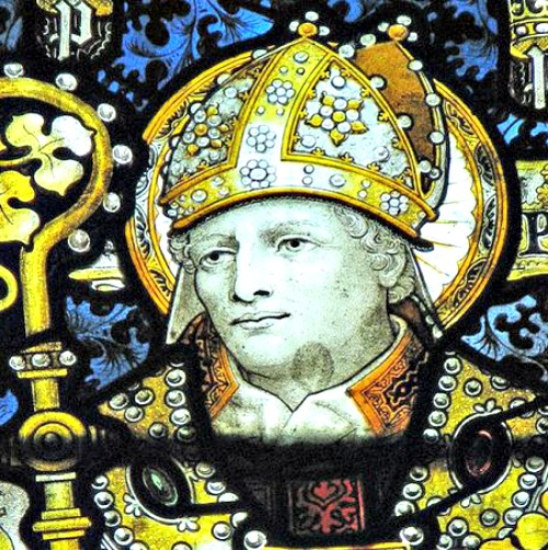 St. Patrick, as seen in C.E. Kempe's stained glass in St. John the Baptist parish, Burford, U.K.