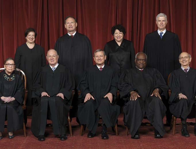 The Roberts Court (April 2017–July 2018). Front row (left to right): Ruth Bader Ginsburg, Anthony Kennedy, Chief Justice John Roberts, Clarence Thomas and Stephen Breyer. Back row (left to right): Elena Kagan, Samuel Alito, Sonia Sotomayor and Neil Gorsuch.
