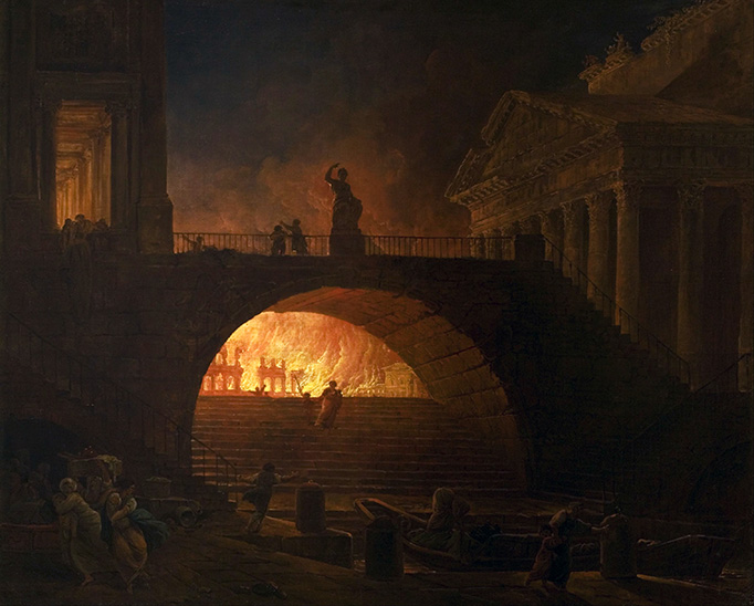 """In a famous example of """"fake news"""" dating to the first century A.D., Tacitus (Annals XV.44) wrote that Nero, to deflect blame for the fire of Rome, """"fastened the guilt and inflicted the most exquisite tortures on a class hated for their abominations, called Christians by the populace."""""""