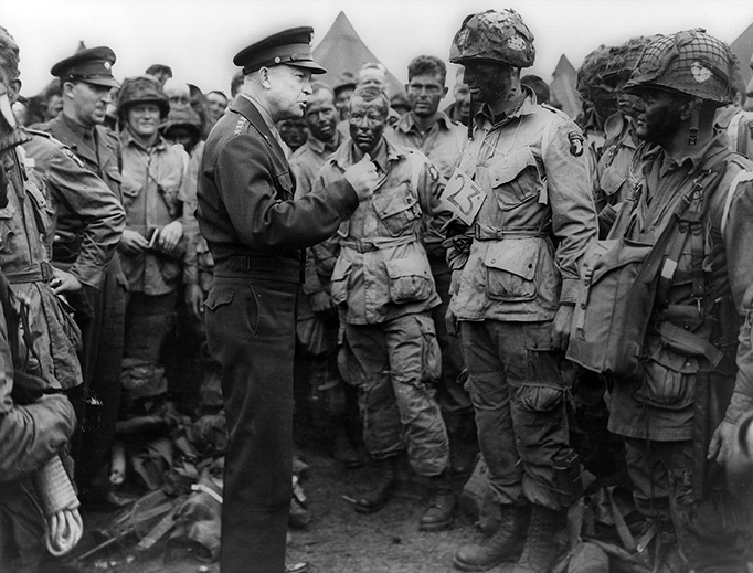 General Dwight D. Eisenhower addresses American paratroopers prior to D-Day.