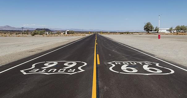 Historic Route 66 near Amboy (California, USA).