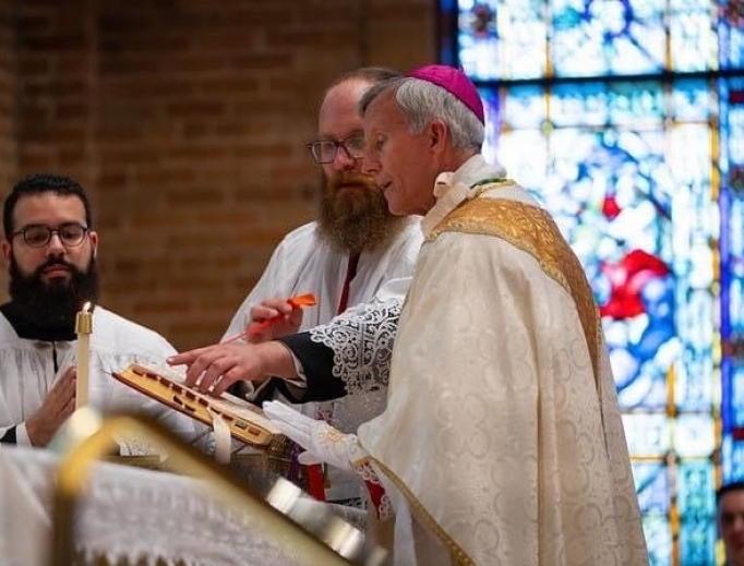 Bishop Joseph Strickland celebrates his first Latin Mass on June 11.