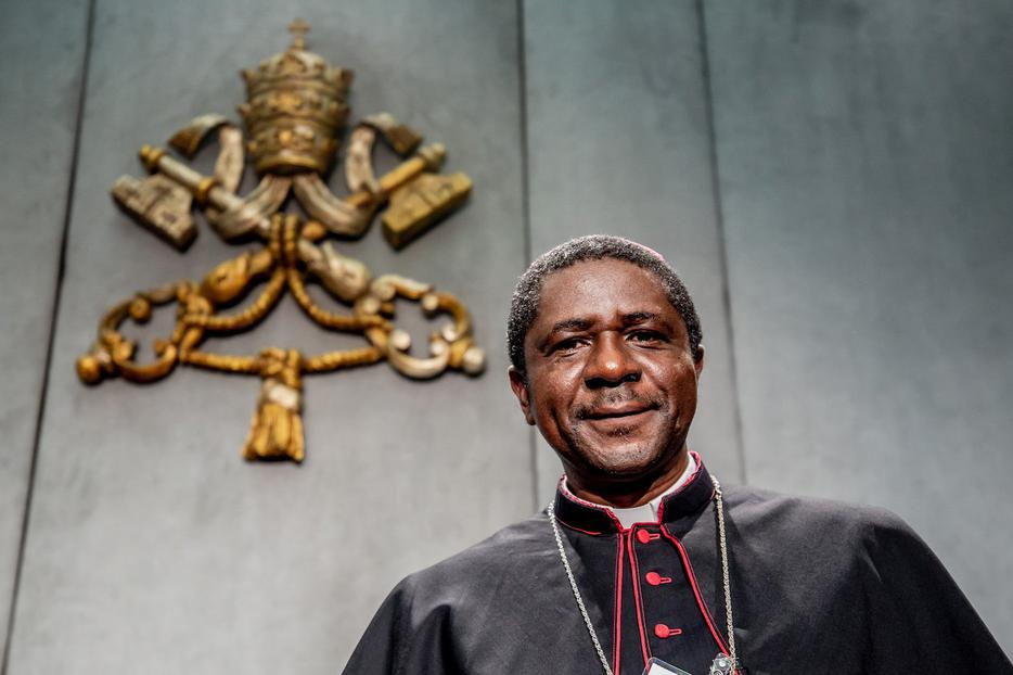 Bishop Andrew Nkea Fuanya of Mamfe, Cameroon, pictured at a Vatican press briefing Oct. 25, was one of 16 members elected to the Ordinary Council on Friday.
