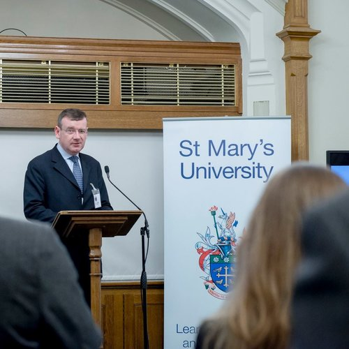 IDENTITY-CONSCIOUS. Vice Chancellor Francis Campbell, former British ambassador to the Holy See, is enhancing the Catholic identity of St. Mary's University.