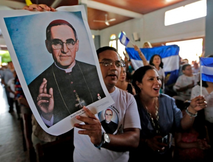 People demonstrate against the government of Nicaraguan President Daniel Ortega with a poster of Salvadorean St. Óscar Romero during Easter Mass on April 21, 2019.