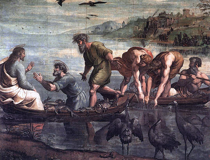 """Raphael, """"The Miraculous Draught of Fishes,"""" 1515"""