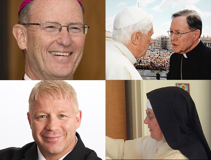 CLOCKWISE FROM UPPER LEFT: Bishop James Conley, Msgr. Peter Wilkinson, Mother Mary Augustine, Scott Sullivan