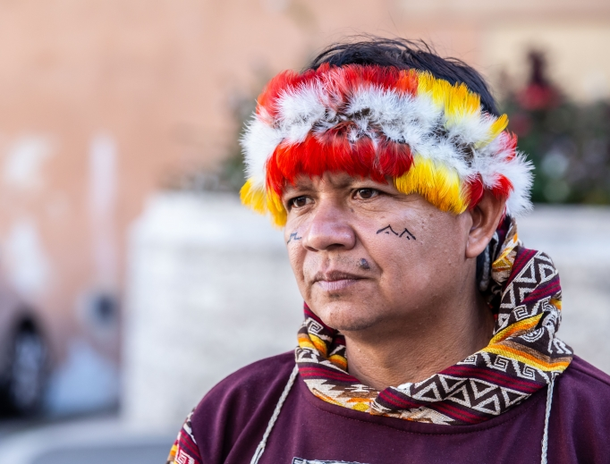 An indigenous man attends the Oct. 9 afternoon session.