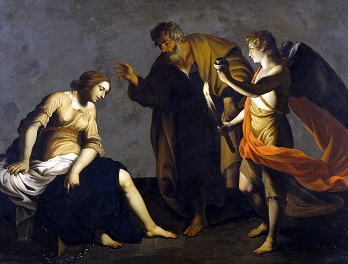 """According to an ancient Christian legend, Saint Peter and an angel visited Saint Agatha in prison, miraculously healing her injured breasts. She is honored today as the patron saint of breast cancer sufferers. (Image credit: Alessandro Turchi, """"Saint Agatha Attended by Saint Peter and an Angel in Prison"""", c. 1645)"""
