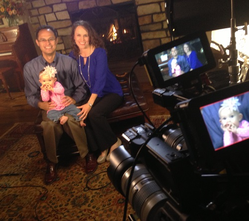 Above, Edward Sri with his wife, Elizabeth, and their daughter on set; below, a roundtable from Beloved video with (from l to r) Crystalina and Jason Evert, Elizabeth and Edward Sri and Michaelann and Curtis Martin.