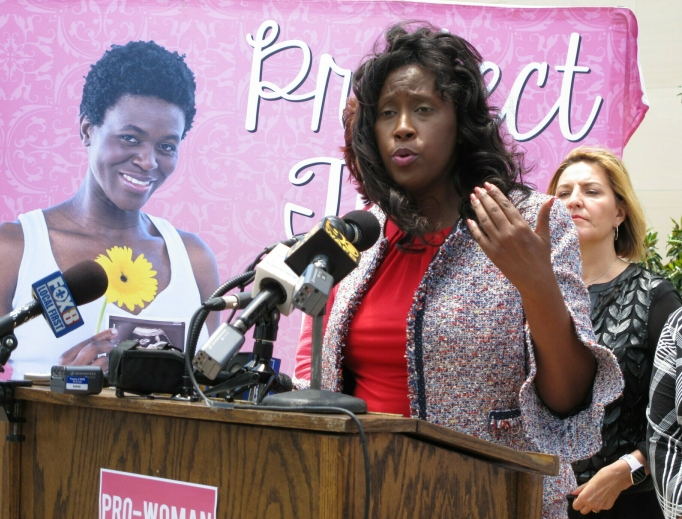 Louisiana politician Katrina Jackson, D-Monroe, shown talking to reporters in 2019 while serving as a state representative, authored the law that required doctors at abortion facilities to have admitting privileges at a local hospital in the June Medical Services v. Russo case. Following the Supreme Court ruling this week striking down the law, the now-state senator said the decision 'was not in line with basic women's health, protecting women and offering women equal access to true health care.'