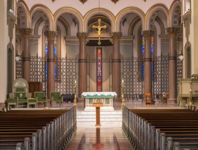 Altar inside the Cathedral of the Sacred Heart at Cathedral Place in Richmond, Virginia.