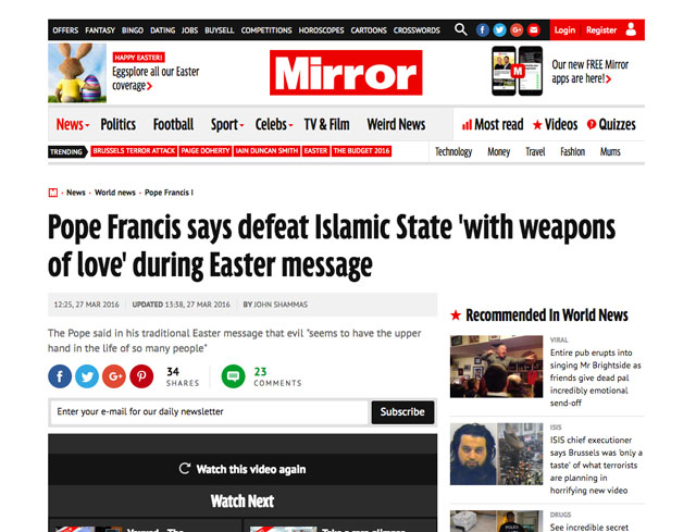 Why did the UK's Mirror incompetently botch a story about the pope on Easter Sunday?