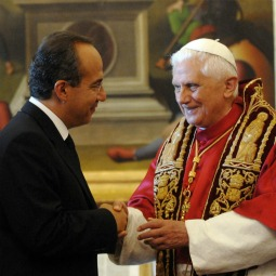 Pope Benedict XVI stands with President of Mexico Felipe Calderon during a meeting at his private library in 2007 in Vatican City.