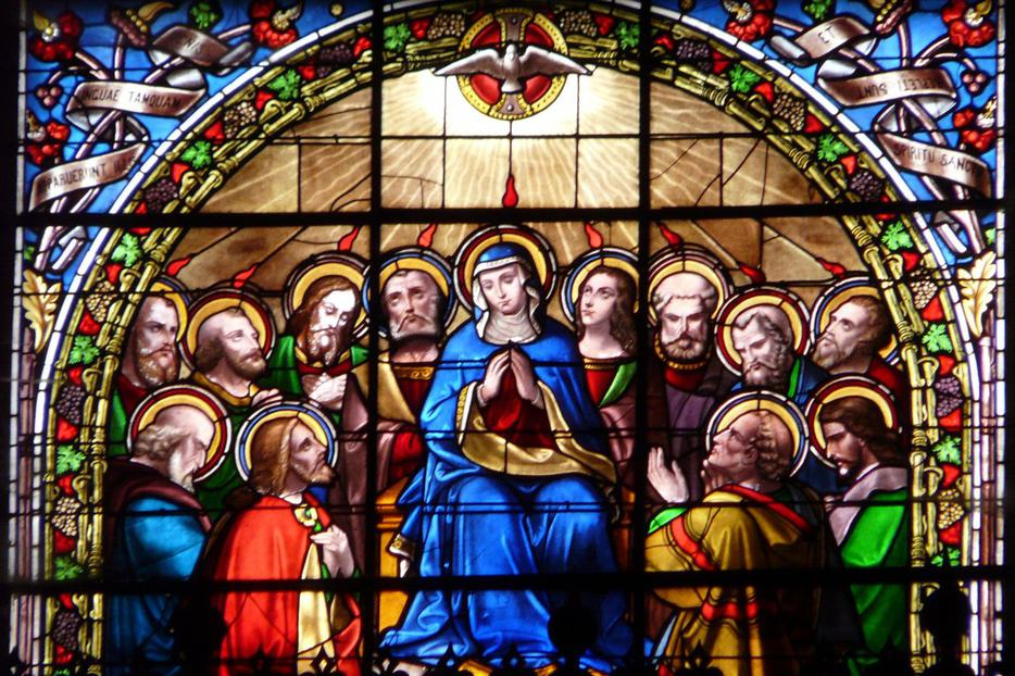Descent of the Holy Spirit at Pentecost (stained glass, Church of Saint Nicholas, Nérac, France)