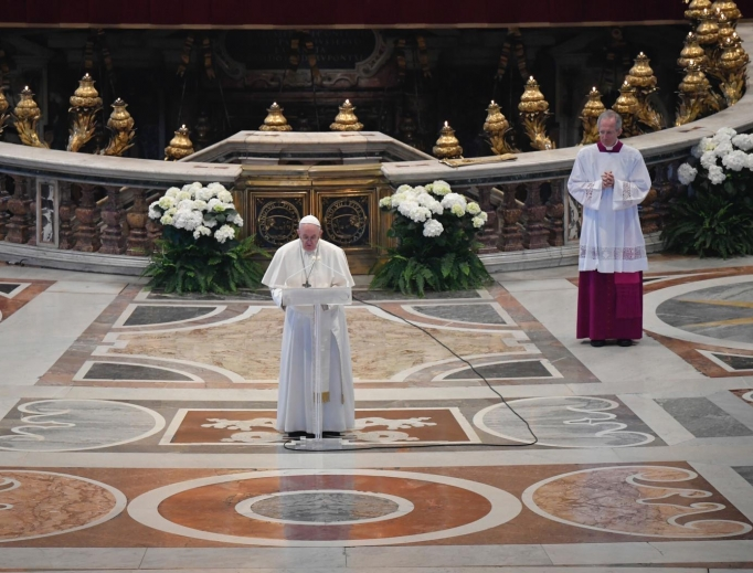 Pope Francis delivers his special Easter Urbi et Orbi message on April 12, 2020.