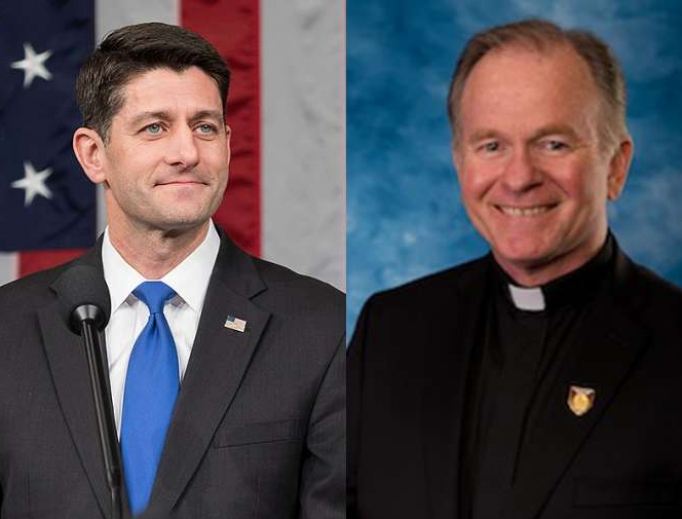 Speaker of the House Paul Ryan (l) and Jesuit Father Patrick Conroy, chaplain for the House.