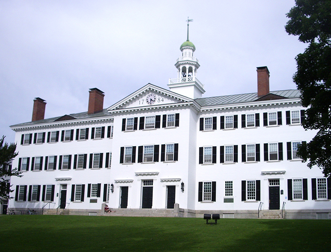 Photograph of Dartmouth Hall at the campus of Dartmouth College in Hanover, New Hampshire.