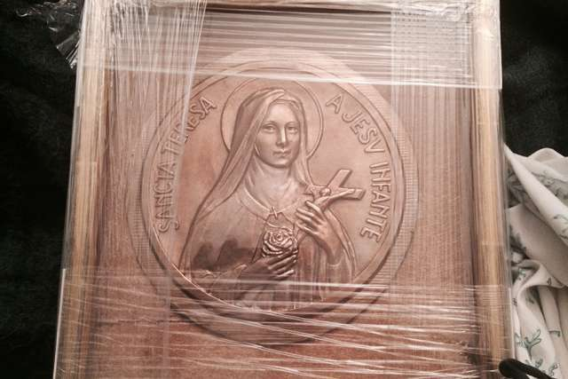 This image of St. Thérèse of Lisieux was a gift presented to Pope Francis by French journalist Caroline Pigozzi.