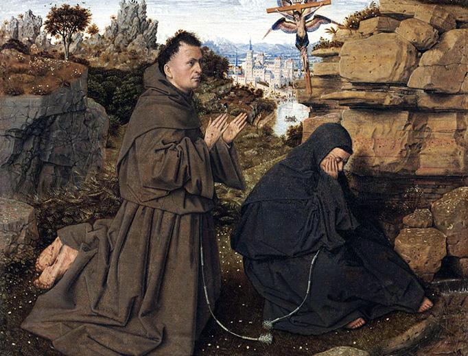 "Jan van Eyck, ""St. Francis of Assisi Receiving the Stigmata,"" c. 1431"