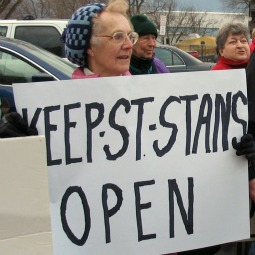 People are seen protesting the closing of St. Stanislaus Kostka Church in Adams, Mass., in 2008. A spokesman for the Diocese of Springfield, Mass., has announced that Bishop Timothy McDonnell received a communication from the Vatican regarding the reopening of the church.