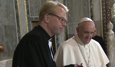 Pope Francis with Pastor Jens Kruse of the Lutheran Evangelical Church of Rome, Nov. 15, 2015
