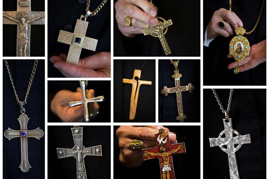 This combo shows pectoral crosses and one panagia (top right) worn by various U.S. bishops.