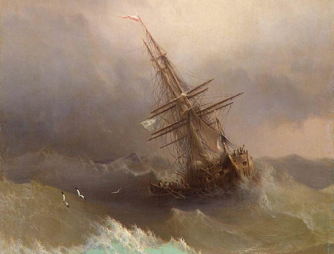 "Ivan Konstantinovich Aivazovsky, ""Ship in the Stormy Sea,"" c. 1887"