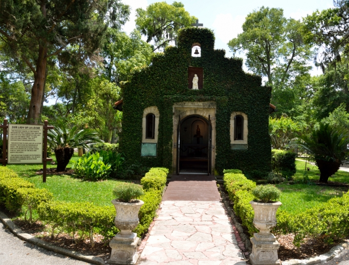 The historic shrine chapel of Our Lady of La Leche in St. Augustine, Florida, is located at the Nombre de Dios Mission.