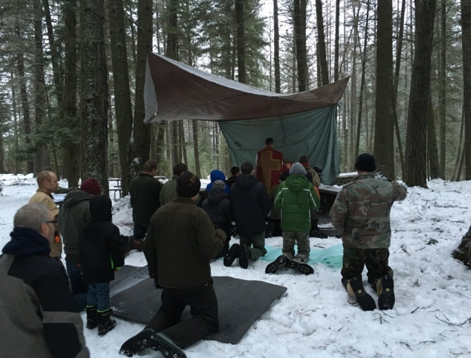 Mass outdoors is a hallmark of the Troops of St. George