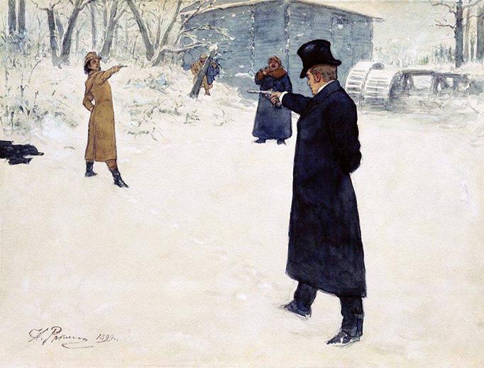 """Ilya Repin, """"Duel of Eugene Onegin and Vladimir Lensky"""", 1899"""