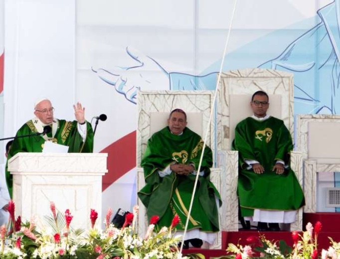 Pope Francis says Mass at Campo San Juan Pablo II for World Youth Day Panama Jan. 27, 2019.