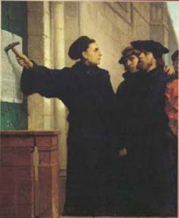 Belgian artist Ferdinand Pauwels' depiction of Martin Luther nailing his 'Ninety-Five Theses' to the door of achurch in Wittemburg on Oct. 31, 1517.