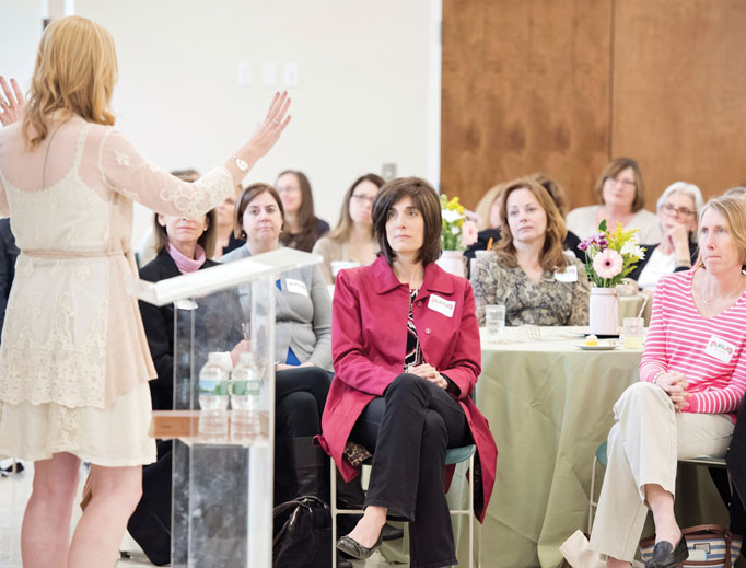 Lisa Brenninkmeyer addresses women at a Walking With Purpose gathering.